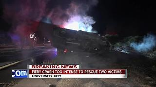 Fiery crash leaves two dead in University City - Video