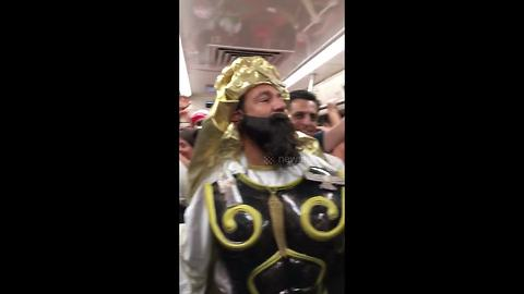 Elaborately dressed Iranian fan heads to team's first match