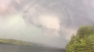 Funnel Cloud Forms Over Connecticut's Lake McDonough - Video