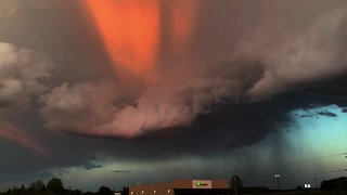 Severe weather tornado forms and rotates with stunning results