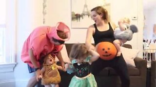 Pregnant mom busts some Halloween moves!
