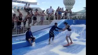 Cruise ship surfing FAIL - Video
