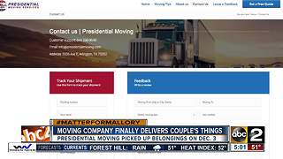 Moving company finally delivers Virginia couple's belongings - Video