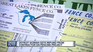 Detroit woman gets refund from contractor on fencing project