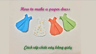 How to make paper Origami dress  - Video