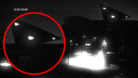 Triangle shaped UFO captured on security camera