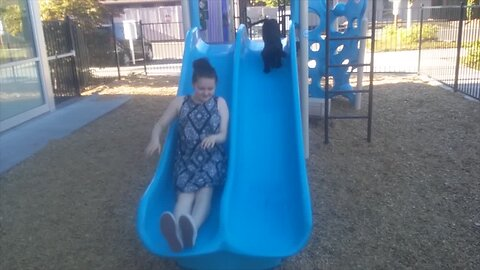 Puppy Loves to Play on the Slide