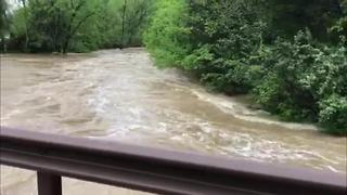 Mill Creek Rises During Heavy Rains, Storms - Video