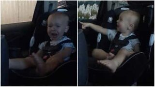 Baby has a hilarious reaction to a car wash!
