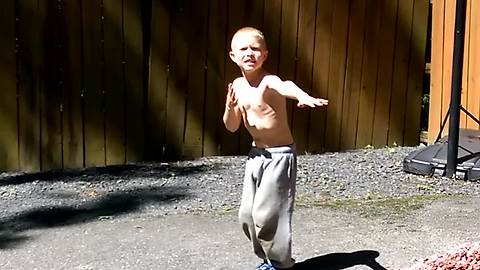 Young Boy Shows Off His Dance Moves
