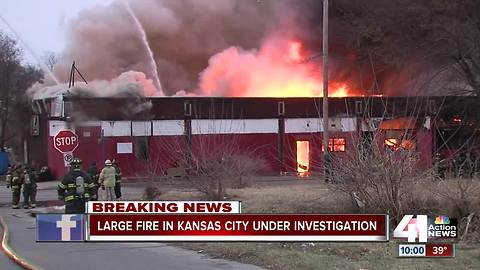 Smoke visible for miles as building burns in Kansas City
