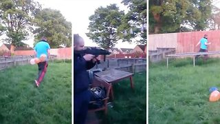 Man attempts to shoot ballots off friend with air rifle - Video