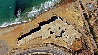 Haunting drone footage captures ghost palace in Greece