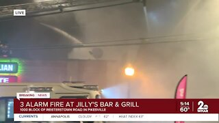 3-alarm fire at Jilly's Bar & Grill in Pikesville