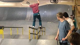 Nuts! Unlucky skateboarder lands crotch first on to railing