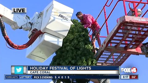 Crews get ready for Cape Coral's Holiday Festival of Lights - 8am live report