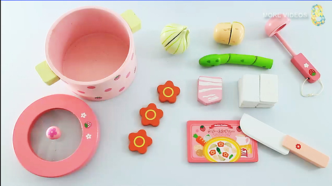 Toy cutting Velcro Food Playsets Mother Garden Wooden kitchen Toys Set