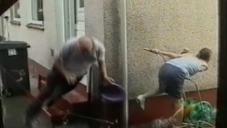 Epic Water Fight: Girl Wins, Old Man Fails Hard