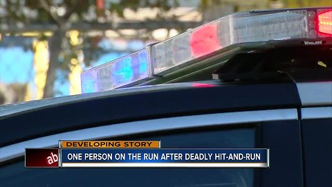 One person on the run after deadly hit-and-run