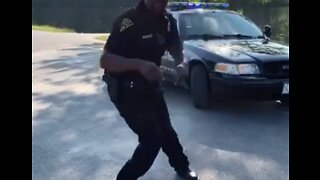 Maine Police Officer Gets Down for The 'Git Up' Challenge