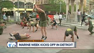 Marines offering PT every morning during Marine Week Detroit - Video