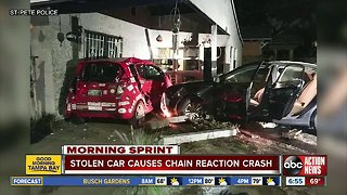 Stolen car crashes into driveway, damaging home