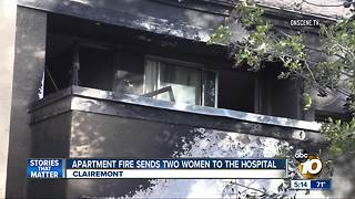 Apartment fire sends 2 women to hospital - Video