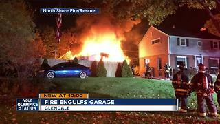 Garage fully engulfed in flames in Glendale - Video