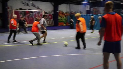 Tranmere Rovers Goalkeeper Nutmegs Woman During Walking Football Game