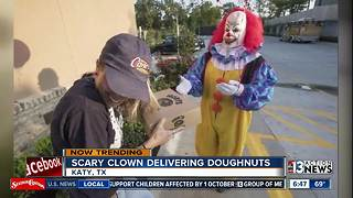 Scary clown delivering donuts