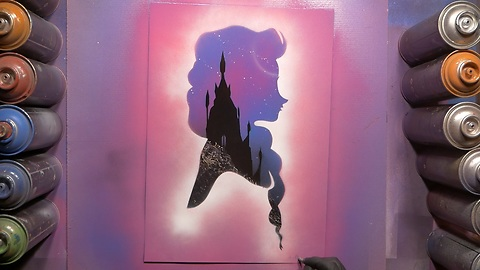 Spray paint artist magnificently draws Elsa from 'Frozen'