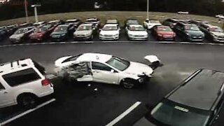 Driver causes terrifying accident at car dealership