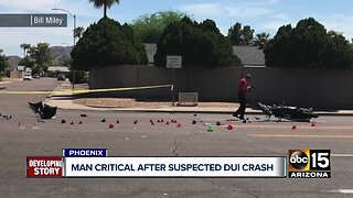 Motorcycle rider critical after suspected DUI crash