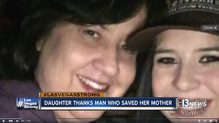 Daughter thanks man who saved her mother from Las Vegas shooting - Video