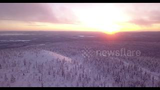 Stunning views of Lapland under sunset - Video