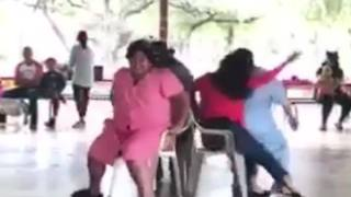 Woman Playing Musical Chairs Breaks The Chair - Video