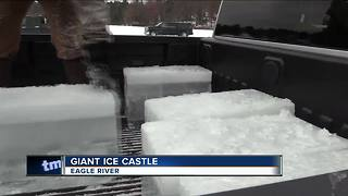 Eagle River firefighters build ice castle - Video