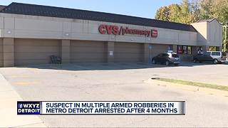 Suspect in multiple armed robberies in metro Detroit arrested after 4 months - Video