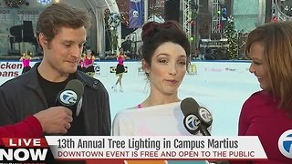 Meryl Davis and Charlie White at the Detroit Tree Lighting - Video