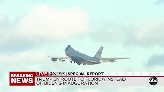 Air Force One departs to Florida with President Trump for final time