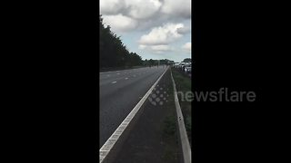 M1 shuts down due to suspicious package - Video