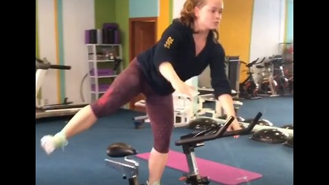 Athlete Performs Unbelievable Workout Routine On Gym Bike