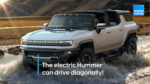The electric Hummer can drive diagonally!