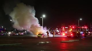 Car goes up in flames at Los Angeles meet up - Video