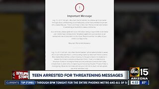 Teen arrested after threatening messages toward schools