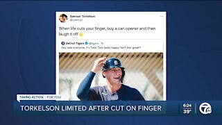 Torkelson limited at Tigers camp after cutting finger