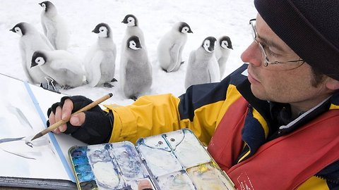 Beak-casso! artist spends 15 years bracing barbaric winds, risking hypothermia and blistering sunburn to p-p-paint with penguins