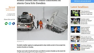 Truck driving in Norway during class 2 storm ''CORA''