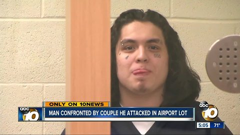 Attacker smirks during hearing with San Diego airport parking lot stabbing victims