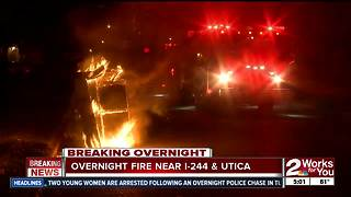 Firefighters respond to overnight fire near I-244 and Utica - Video
